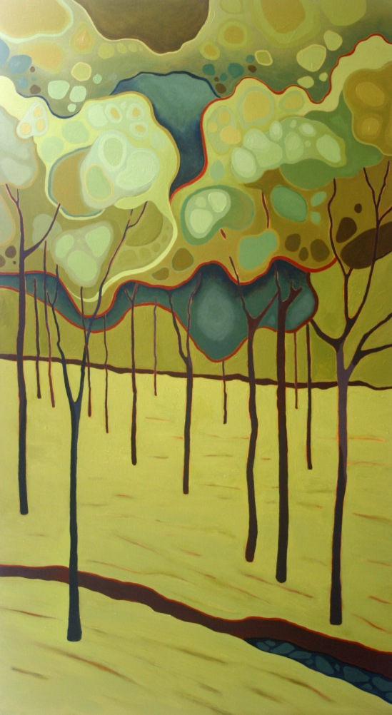Green Trees Abstraction 2012 30%22 x 54%22