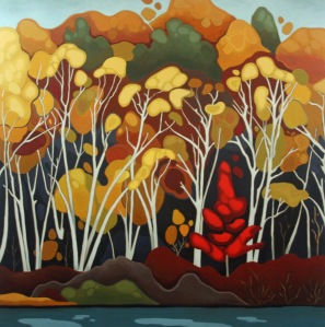 Birches and Maple, 36%22 x 36%22, Acrylic on Canvas, 2013