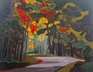 Forest Road, 42%22 x 54%22, Acrylic on Canvas, 2013
