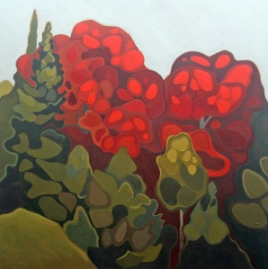 Red and Green Trees, 24%22 x 24%22, Acrylic on Canvas, 2013