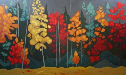 Autumn Extravaganza, 36%22 x 60%22, Acrylic on Canvas, 2014