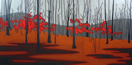 Red Leaves, 36%22 x 72', Acrylic on Canvas, 2014