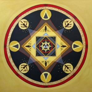 Thunderbird Mandala, 36%22 x 36%22, Acrylic on Canvas, 2014