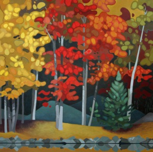 Lakeside Trees, 36%22 x 36%22, Acrylic on Canvas, 2014