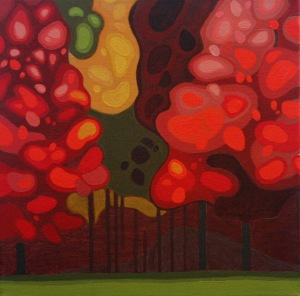 Maple Tree Stand II, 14%22 x 14%22 (framed), Acrylic on Canvas, 2014