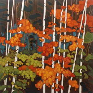 Birch Trunks and Leaves 2015jpg