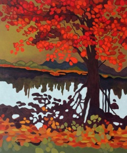 Red Tree Reflection, 2016, 30%22 x 36%22, Acrylic on Canvas