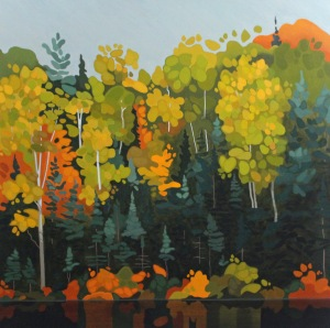 Algonquin Birches and Spruce, 36 x 36', Acrylic on Canvas, 2017