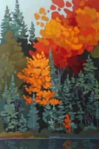 Orange Maple and Spruce, 2017, 24 x 36, Acrylic on Canvas
