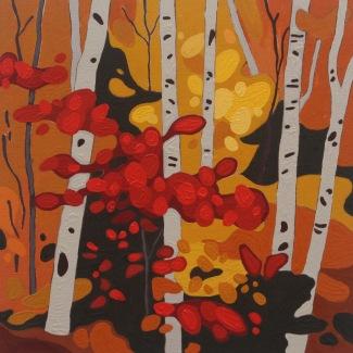 Birch Trunks, 2016, 10 x 10, Acrylic on Wood Panel