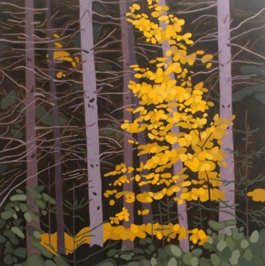 Pine Trunks and Birch, 2018, 36 x 36, Acrylic on Canvas
