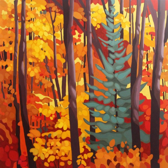Spruce in Maple Forest, 2018, 36 x 36, Acrylic on Canvas