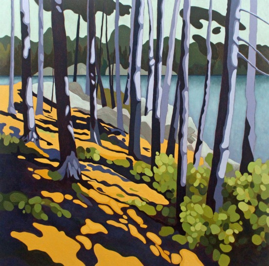 Pine Trunks and Water, 2019, 30x 30, Acrylic on Canvas, Leanne Baird
