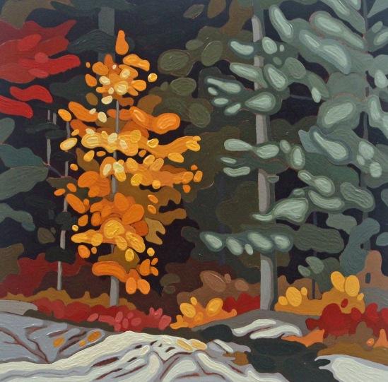 Sunlit Maple, 2019, 12 x 12, Acrylic on Wood Panel, Leanne Baird