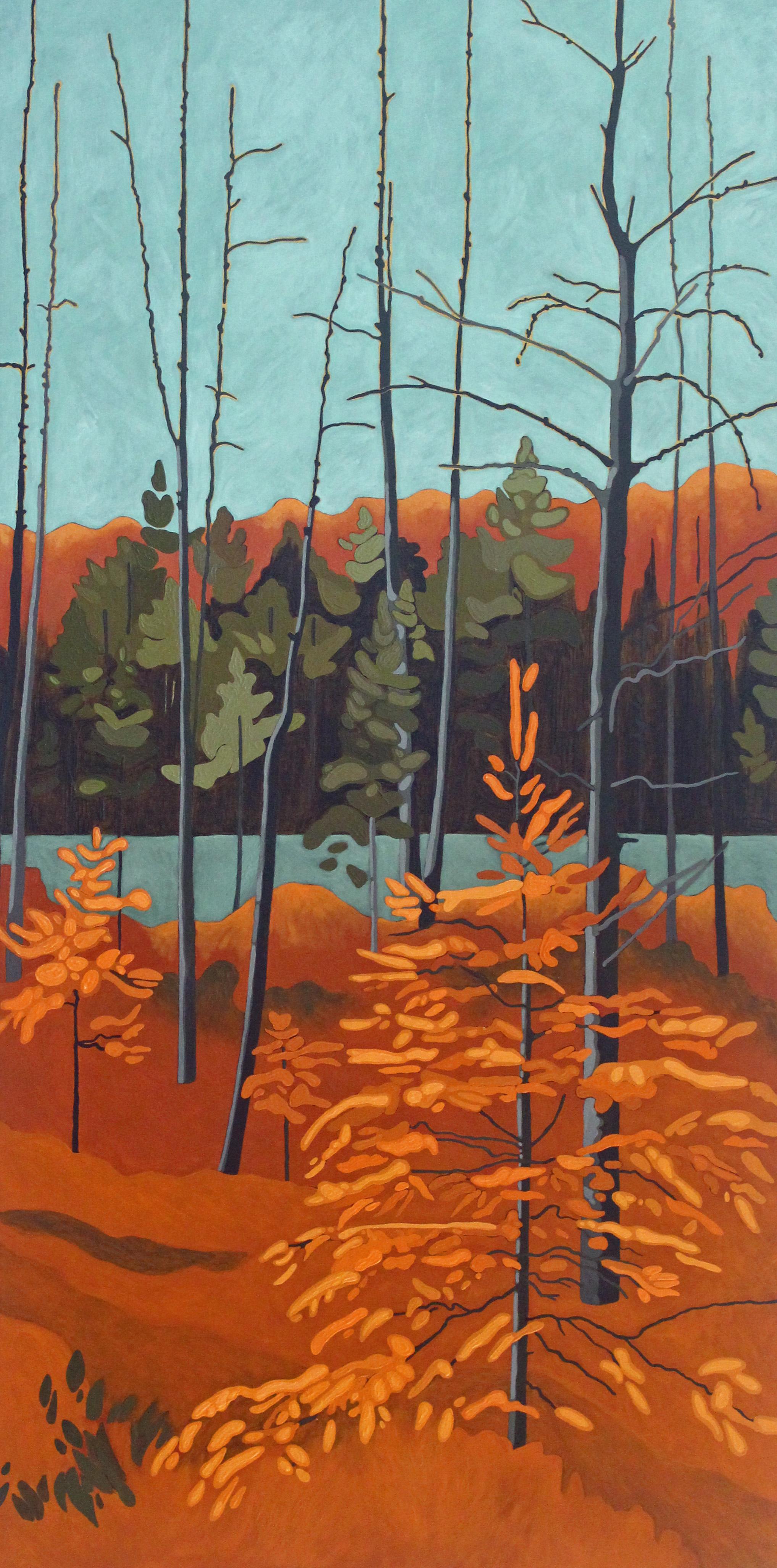 Tamarack and Sky, 2019, 24 x 48, Acrylic on Canvas, Leanne Baird