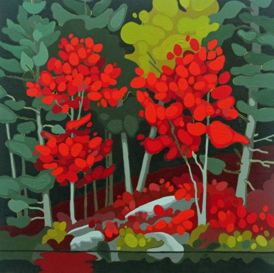 Two Red Trees, 2019, 16 x 16, Acrylic on Canvas, Leanne Baird