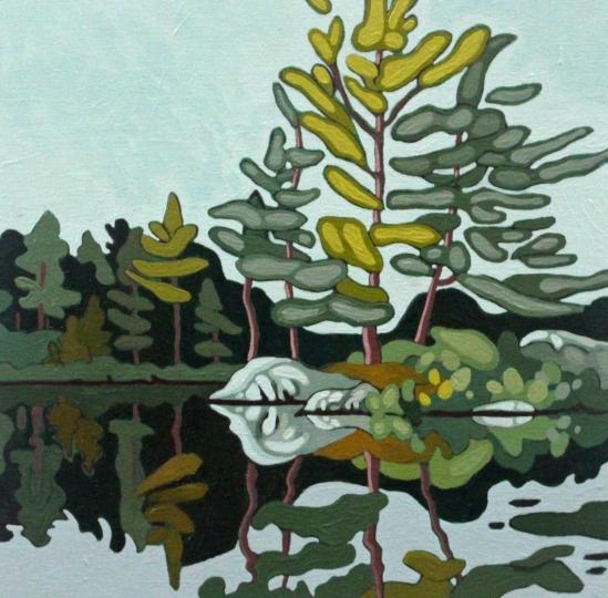 Wolf Lake IX, 2019, 12 x 12,Acrylic on Canvas, Leanne Baird