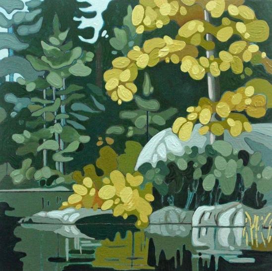 Wolf Lake VII, 2019, 12 x 12, Acrylic on Wood Panel, Leanne Baird