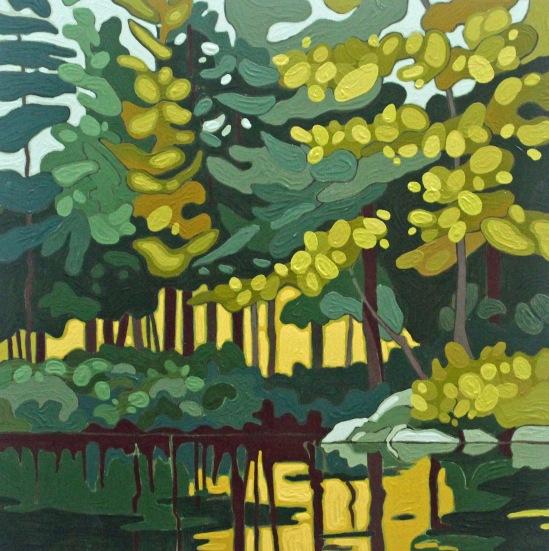Wolf Lake VIII, 2019, 12 x 12, Acrylic on Wood Panel, Leanne Baird