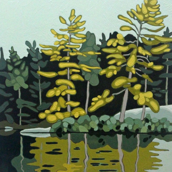 Wolf Lake X, 2019, 12 x 12, Acrylic on Canvas, Leanne Baird