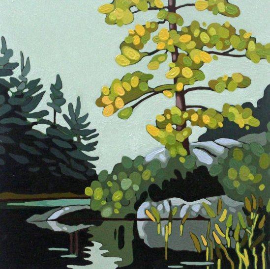 Wolf Lake XI, 2019, 12 x 12, Acrylic on Canvas, Leanne Baird