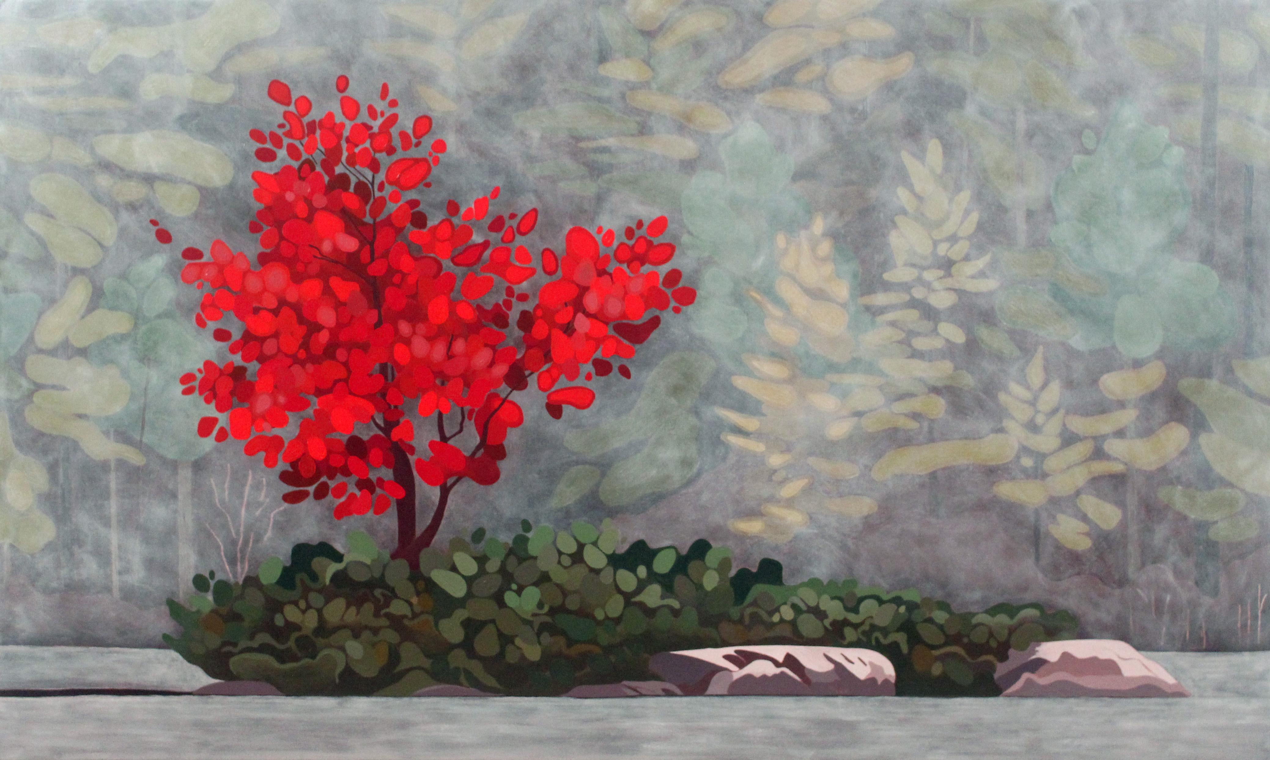Maple in Fog, 2019, 60 x 36, Acrylic on Canvas