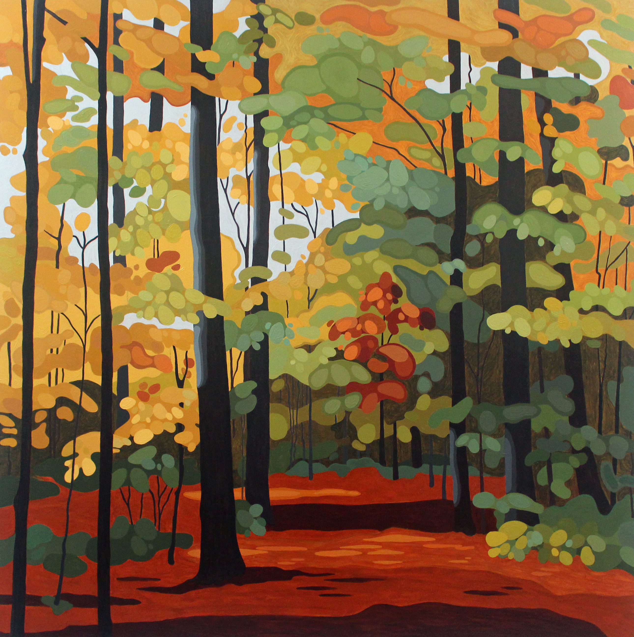 Autumn Forest, 2020, 40 x 40, Acrylic on Canvas
