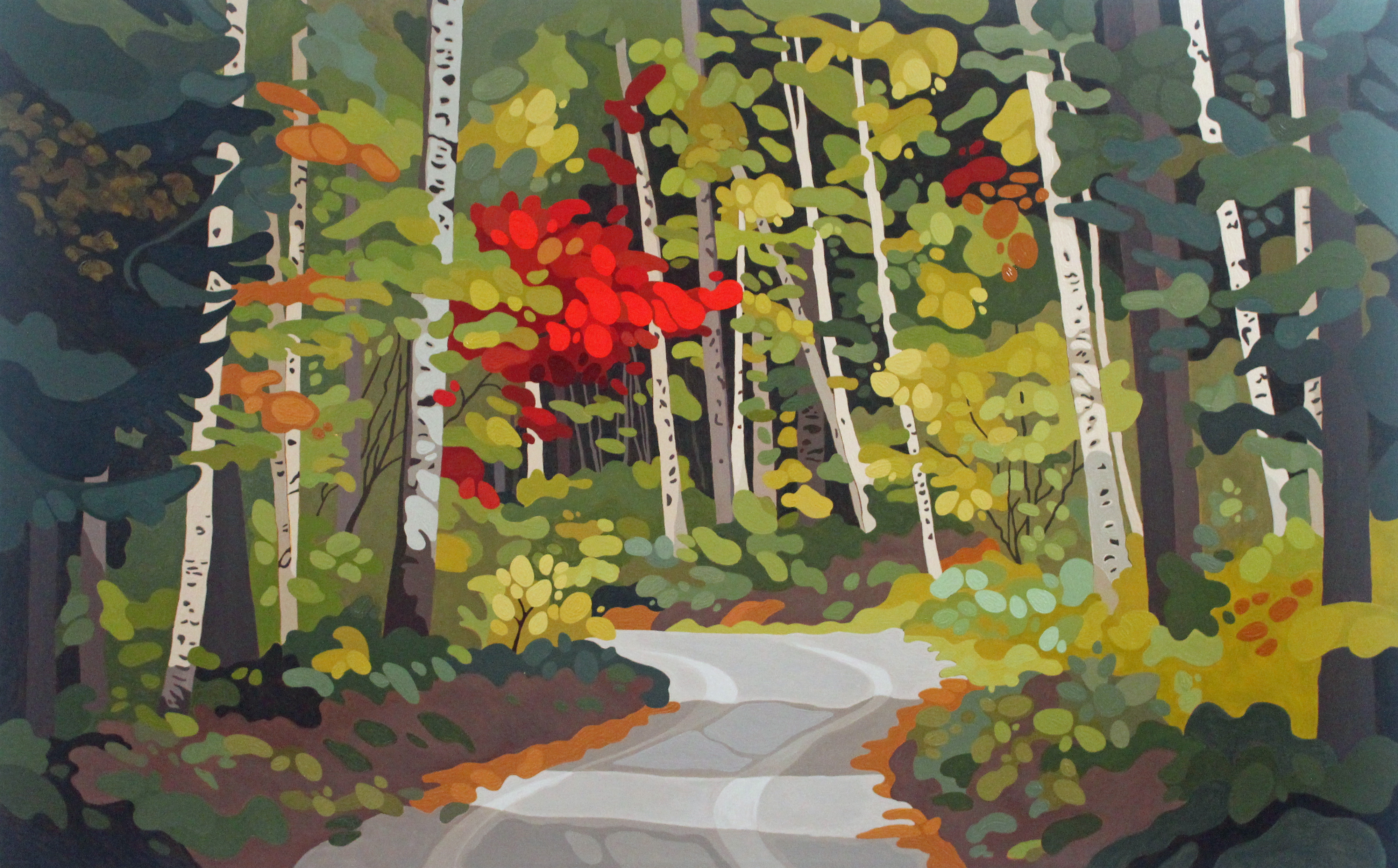 Birch Trees and Road, 2021, 40 x 30, Acrylic on Canvas