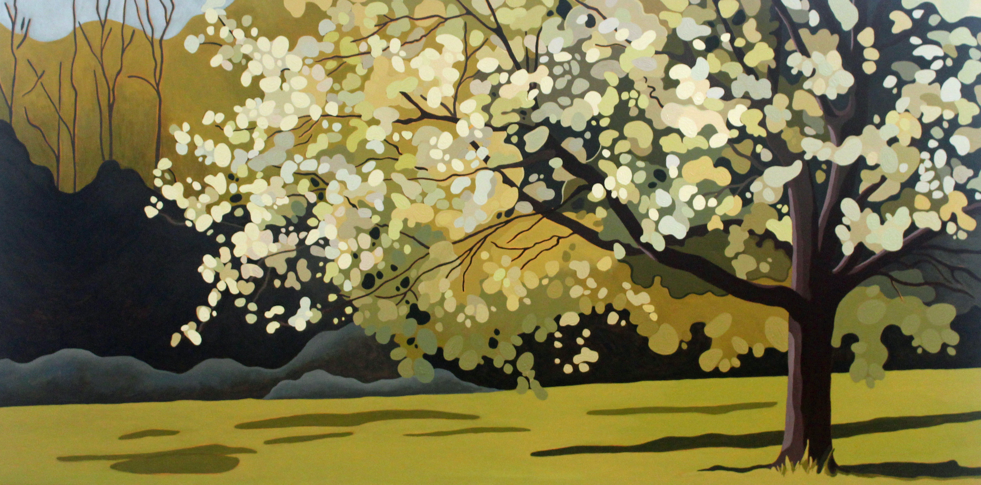 Crabapple in Spring, 2021, 48 x 24, Acrylic on Canvas