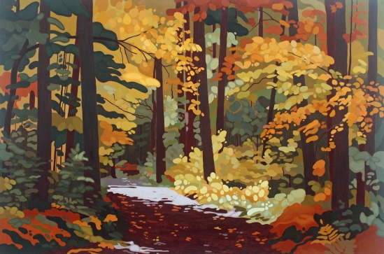 Sunlit Forest Road, 2021, 60 x 40, Acrylic on Canvas