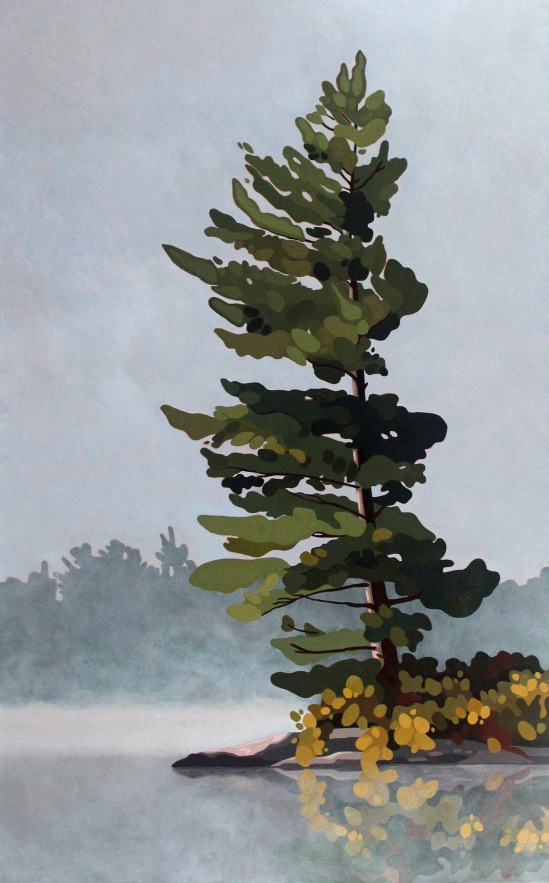 White Pine in Fog, 2021, 30 x 48, Acrylic on Canvas