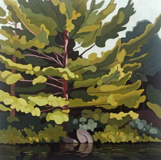 Wolf Lake Pine, 2020, 30 x 30, Acrylic on Canvas