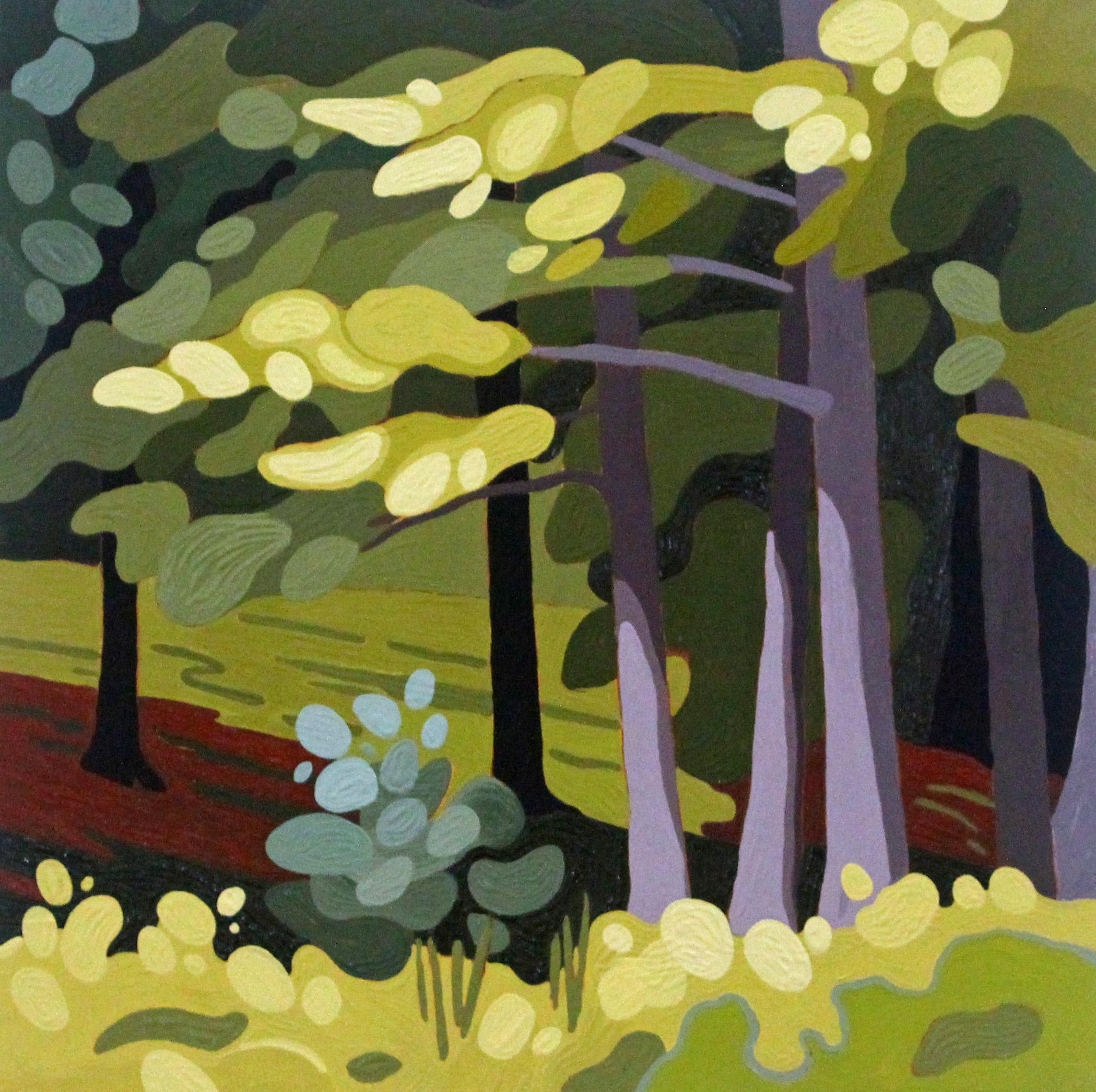 White Pine Boughs, 2020, 12 x 12, Acrylic on Wood Panel