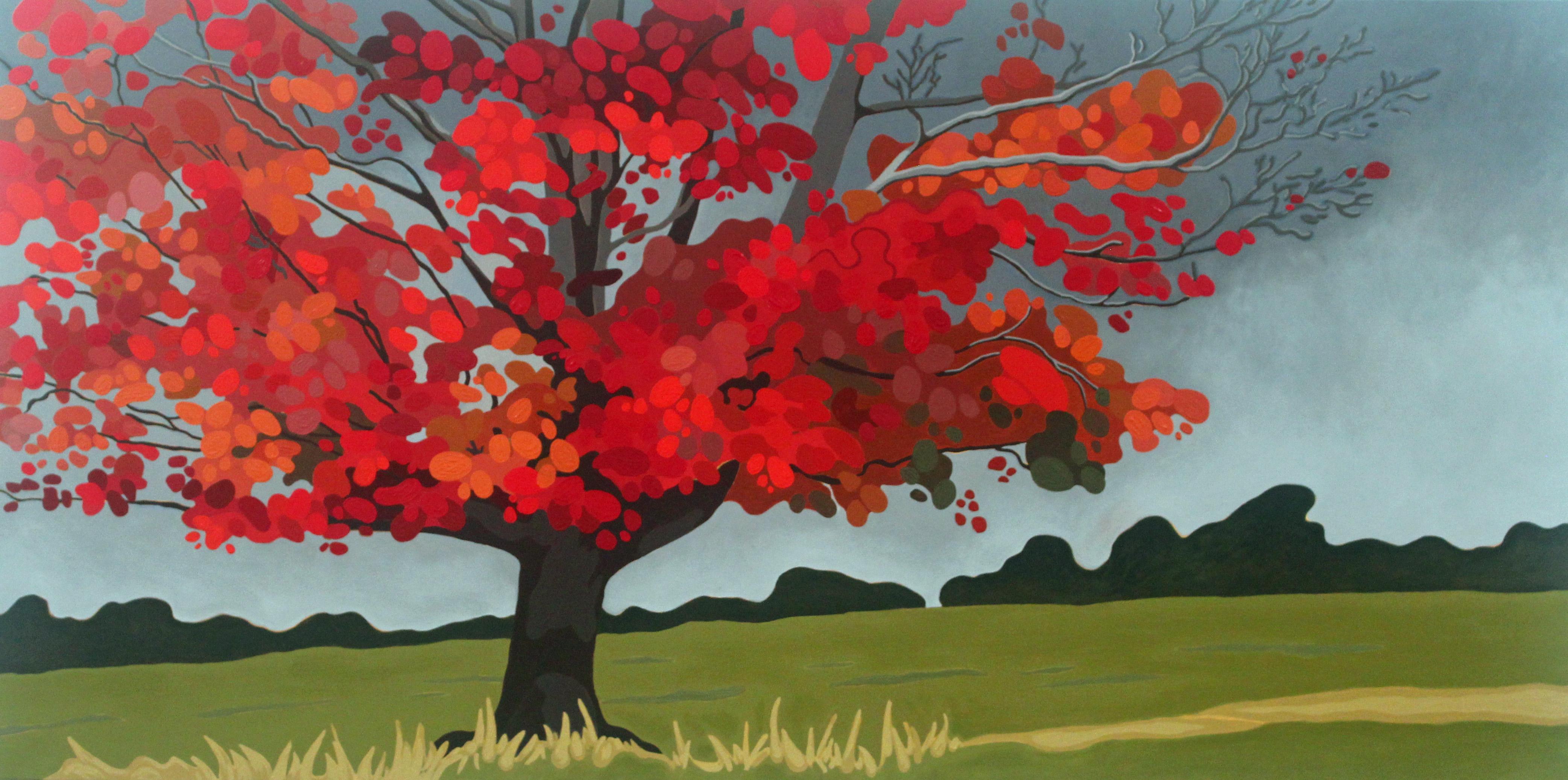 Late Autumn Maple, 2021,48 x 24 Acrylic on Canvas